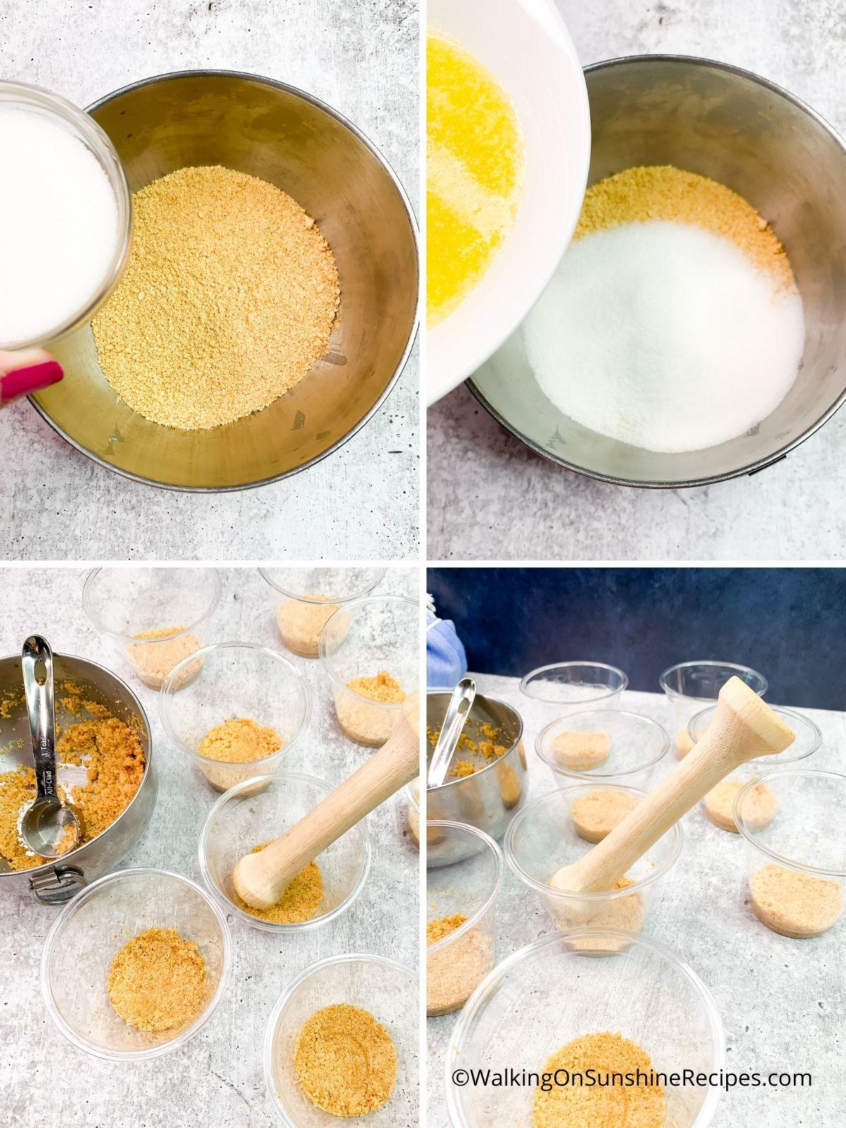 Prepara la corteza de migas de oblea de nilla.