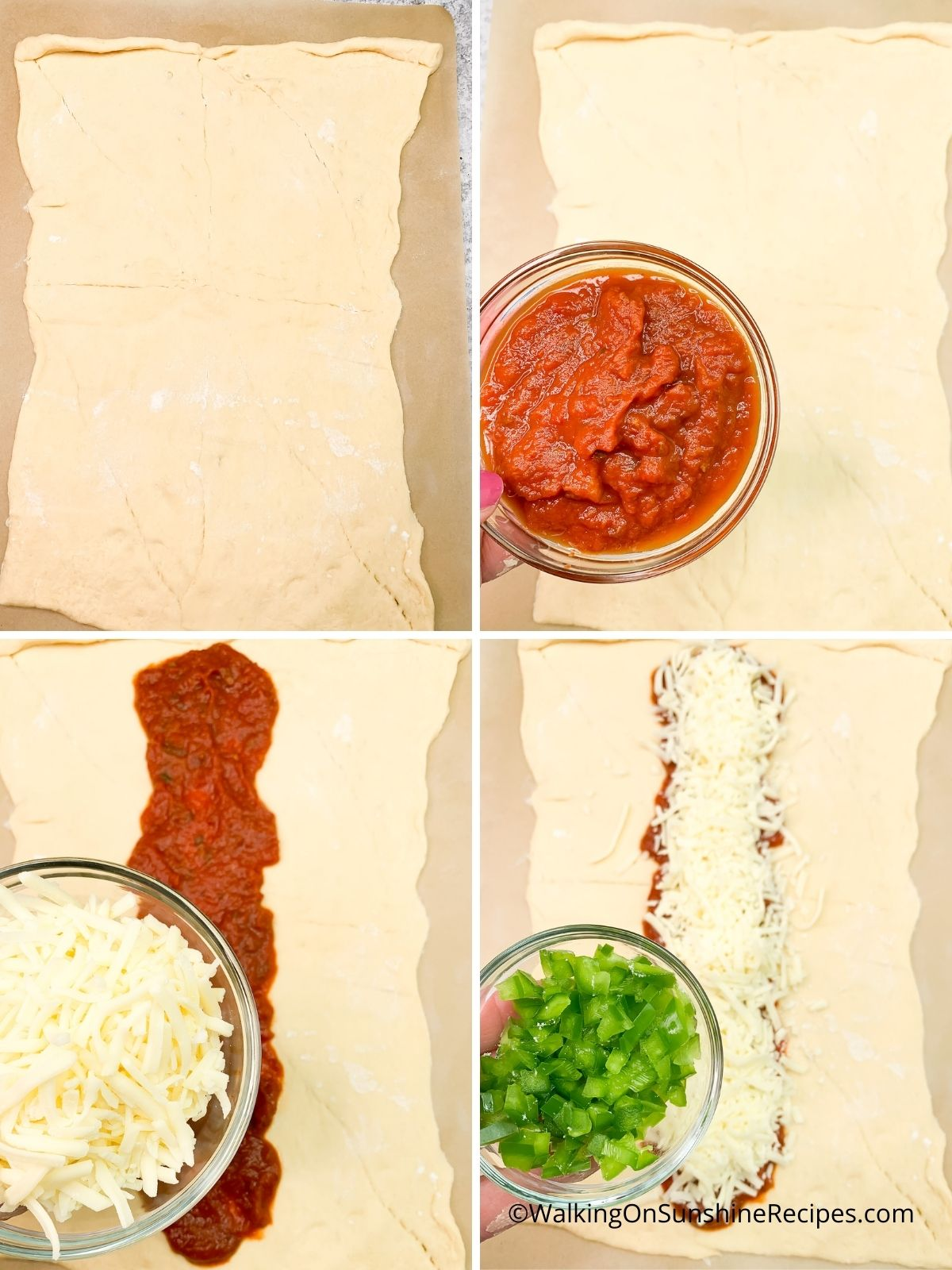 Spread sauce, cheese and peppers.