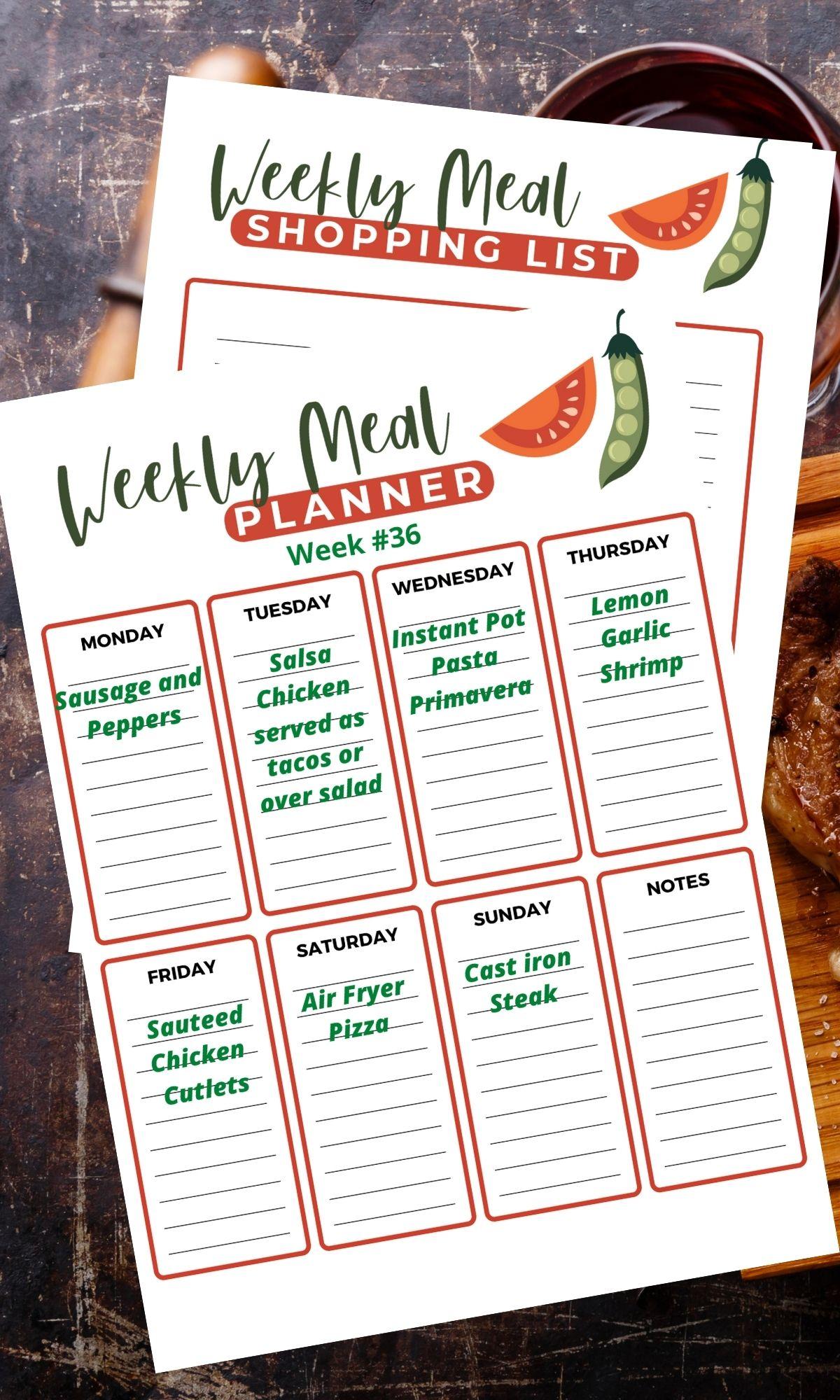 Weekly meal plan printable.
