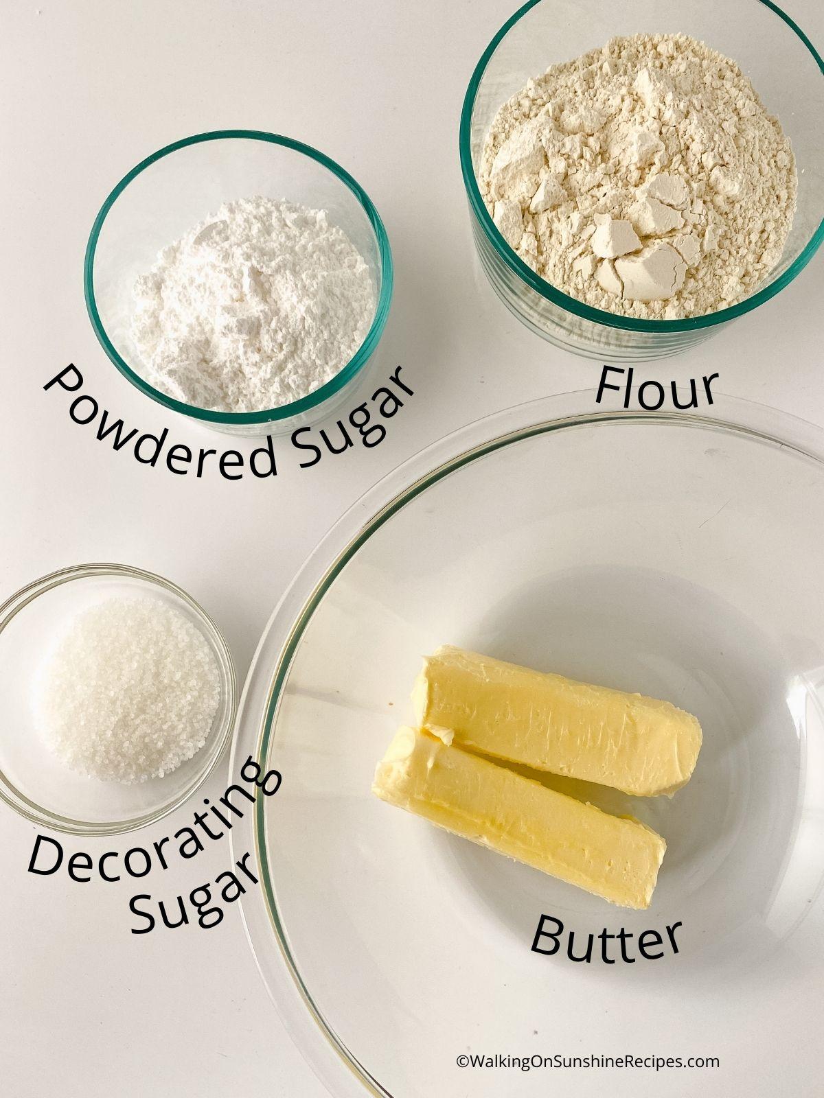 Shortbread ingredients.